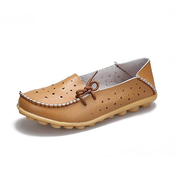 Zapatos de cuero genuino Mujer Zapatos de mujer Zapatos Mocasines Slip On Zapatos planos de mujer Mocasines Zapato de ballet Khaki 4: Amazon.es: Ropa y ...