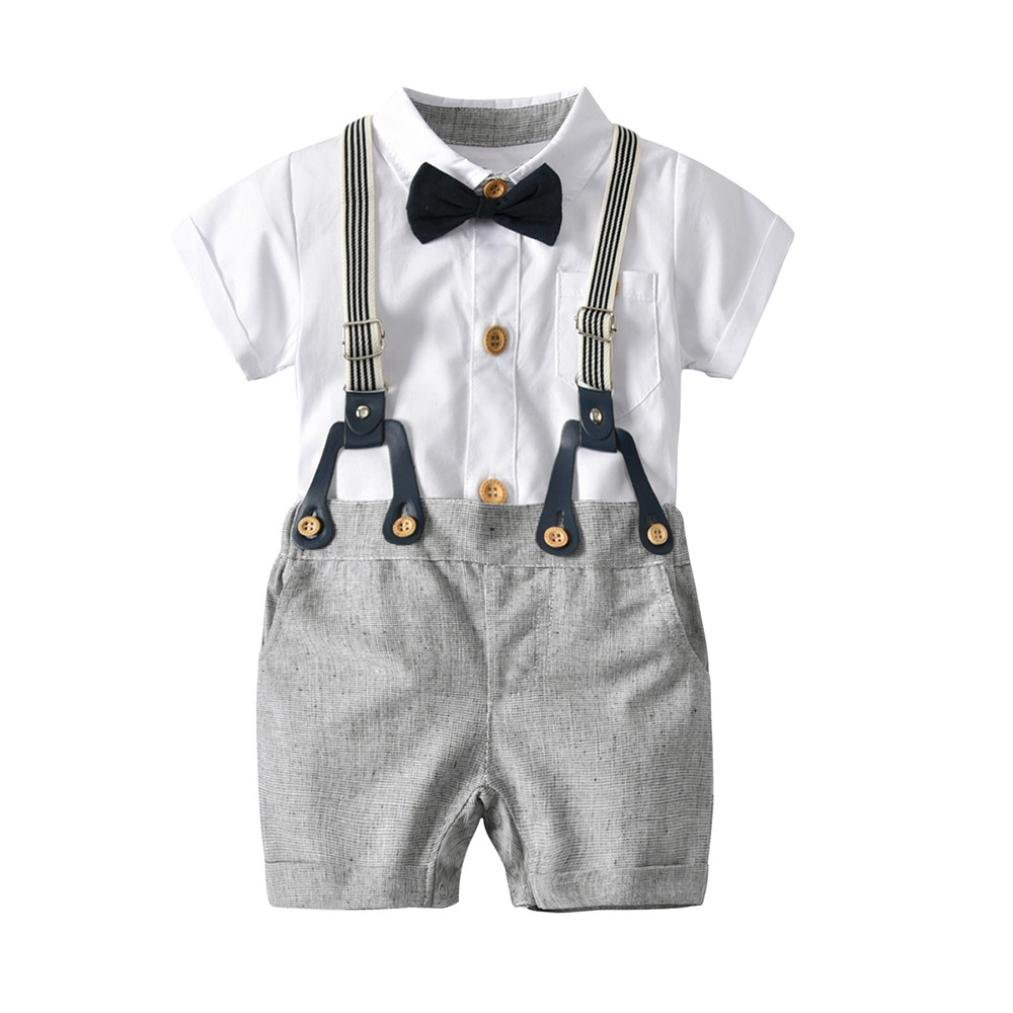 Baby Boys Gentleman Outfits Suits, Short Sleeve Shirt+Suspender Shorts+Bow Tie Overalls Clothes 3 Set (White, 3T)