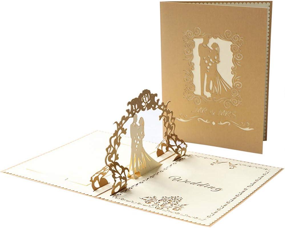 Tarjetas de Felicitación,Tarjeta Pop-Up Invitaciones Boda 3D Tarjeta Romance Casar Deseos Tarjeta Regalo Invitación con Sobre para a los Novios Parejas (Ceremonia de la Boda) SPDYCESS