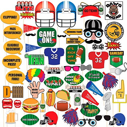 Photo Booth Props - 60-Piece Set of Football-Themed Party Photobooth Props, Selfie Props, Funny Picture Booth Props for Sports Gatherings, Tailgate Parties, Game Nights, Assorted Designs