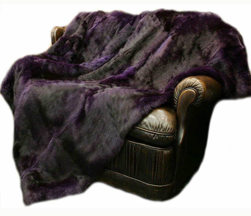 CX FUR Real Rabbit Fur Blanket Hotel Carpet Purple