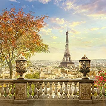 8x8FT Vinyl Photo Backdrops,Paris,Famous Cultural French Icons Photoshoot Props Photo Background Studio Prop