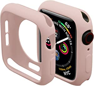 Miimall Compatible Apple Watch Case Series 4 5 6 SE 40mm, Durable Flexible TPU Protective Bumper Cover for Apple Watch Series 6 5 Series 4 40mm case Pink