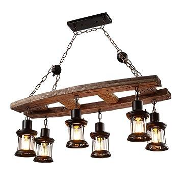 OOFAY Kronleuchter Einfach Retro Wohnzimmer Esszimmer 6 Holz Deckenleuchten Industrielle  Stil Café Bar Holz Lampe Dekorative