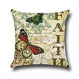 2 Pcs Butterfly Cotton & Linen Throw Pillow Case Home Decorative Cushion Cover 18''x18'' (02 Faith)
