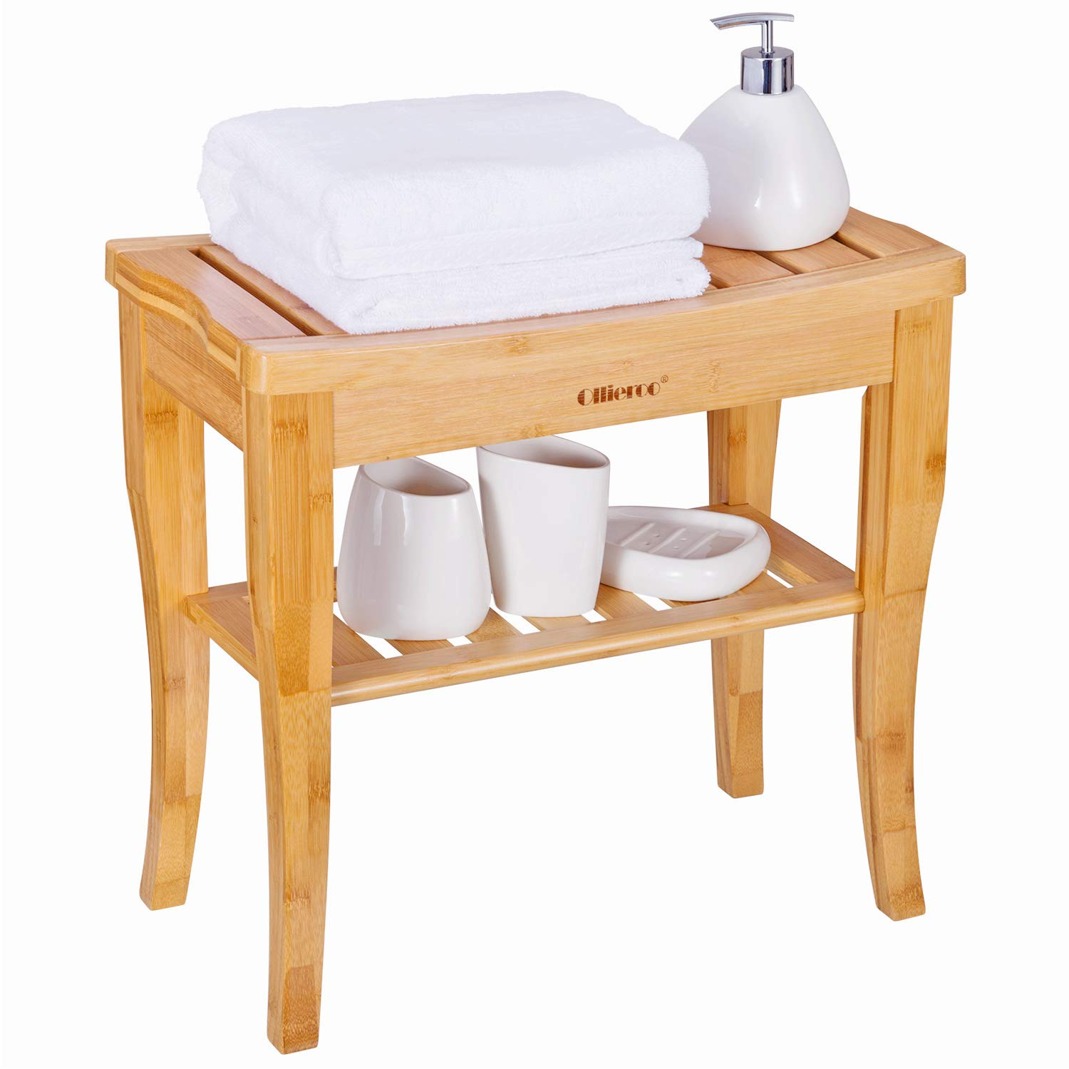 Wondrous Details About Ollieroo Bamboo Shower Bench Seat Wooden Spa Bench Stool With Storage Shelf Theyellowbook Wood Chair Design Ideas Theyellowbookinfo