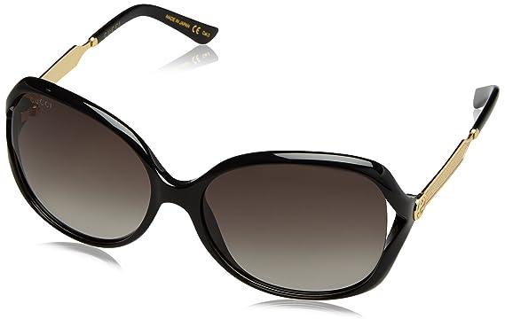 Gucci Damen Sonnenbrille GG0092S 001, Schwarz (Black/Grey), 55