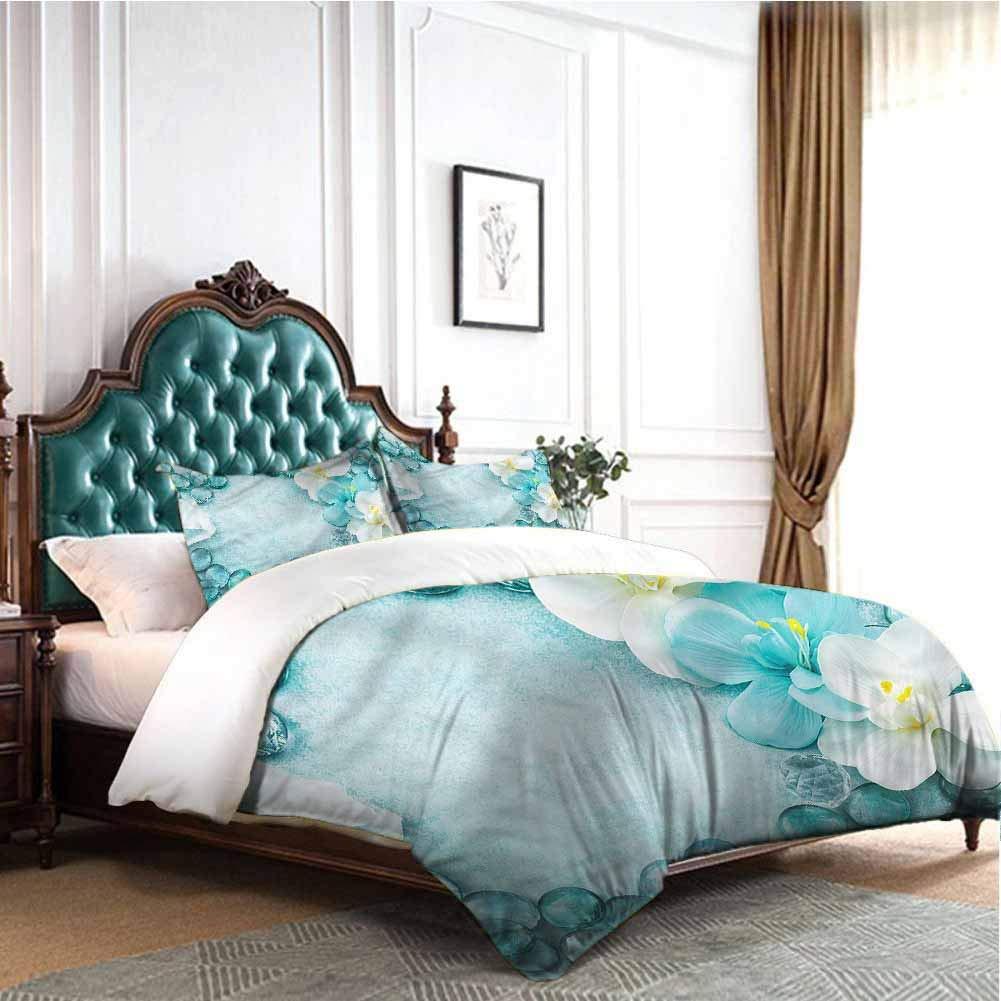 Jktown Aqua 3 Pieces Duvet Cover Set Droplets Sea Salt and Orchids 100% Cotton Bedding Twin