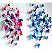 ElecMotive 12 Purple + 12 Blue 3D Butterfly Stickers Home...