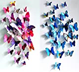 Bedroom Wall Decor ElecMotive 12 pcs Purple + 12 pcs Blue 3D Butterfly Stickers Random Mixed Packing Home Decoration DIY Removable 3D Vivid Special Man-made Lively Butterfly Art DIY Decor Wall Stickers for Wall Decor Home Decor Wall Art Kids Room Bedroom Decor Living Room Decor