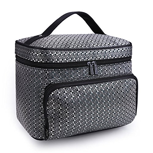 Price comparison product image DRQ Large Cosmetic bags-Multifunction Portable Travel Toiletry Bag Cosmetic Makeup bags with Mirror for Women Skincare Cosmetic Pouch Organizer (B type-Grey)