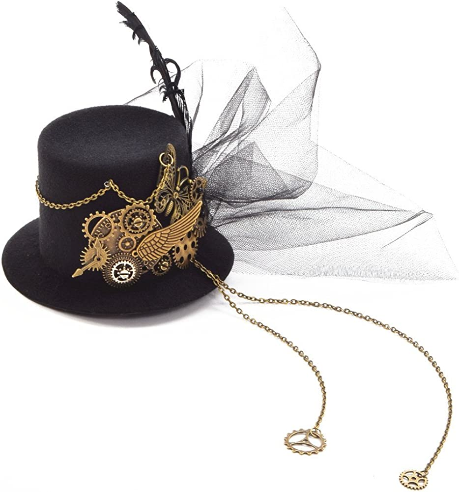 BLESSUME Steampunk gótico Mini Sombrero de Copa Retro Mujer Sombrero Pinza para el Cabello