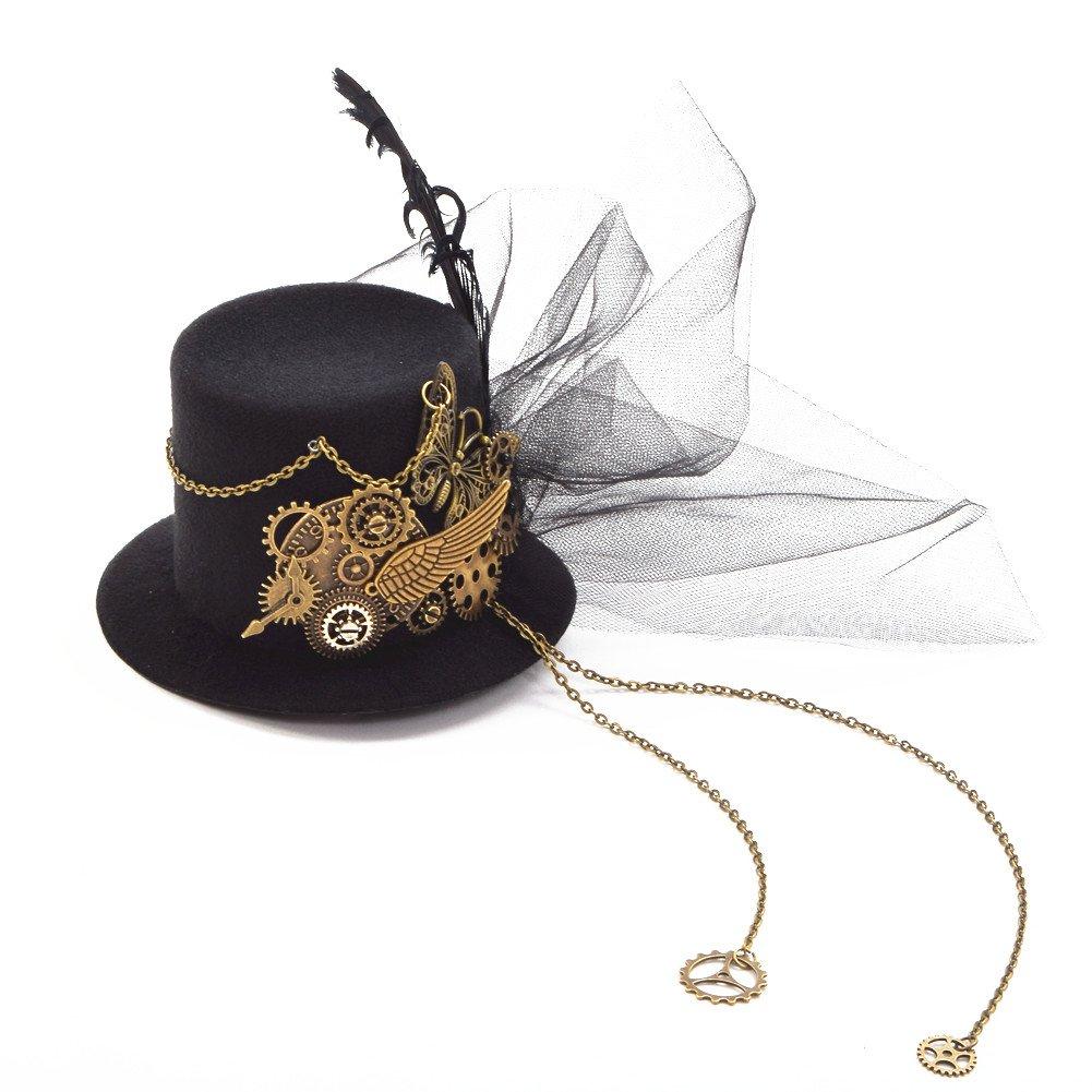 BLESSUME Gothique Femmes Steampunk Gear Ailes Horloge Papillon Chapeau Dentelle Cheveux Clip Chapellerie (M)