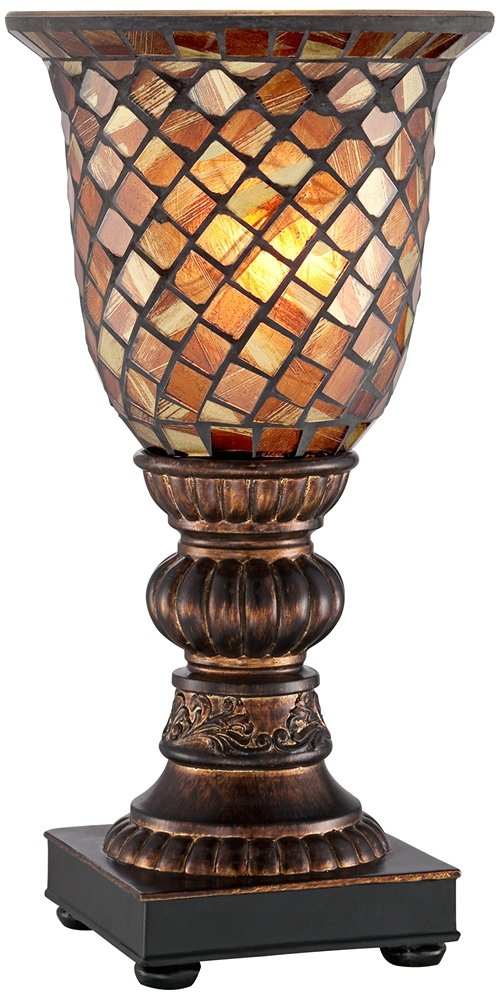 """Mosaic Brown Glass 12"""" High Uplight Accent Lamp"""