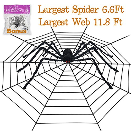 Halloween Decorations Giant Spider (Pawliss Halloween 11.8 Feet Round Spider Web with 6.6 Ft Spider Scary Giant Spider, Halloween Decor Decorations Outdoor Yard, Black)