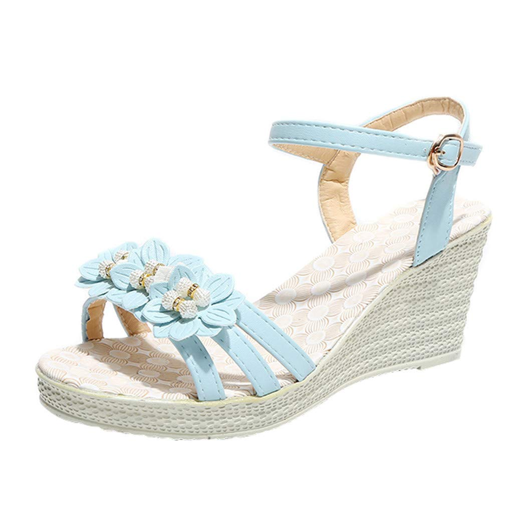 Thenxin Women Fashion Solid Wedges Flower Crystal Sandal Ladies Casual Comfy Shoes for Work (Light Blue,5.5 US)