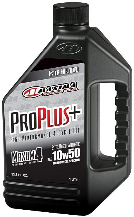 Maxima Racing aceites Pro Plus + 10 W-50 sintético Motocicleta Aceite del Motor