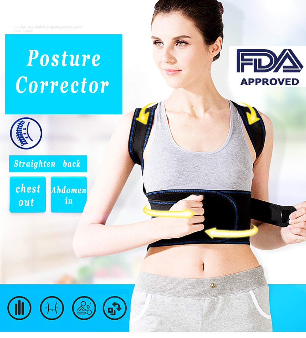 Lower Back Brace Support for Women&Men,The Kids Medical Posture Corrector,Adjustable Full Lumbar Back Braces Belt/Shirt/Strap-Upper Back Pain Relief, Improve Thoracic Kyphosis (XL(36''-41''))