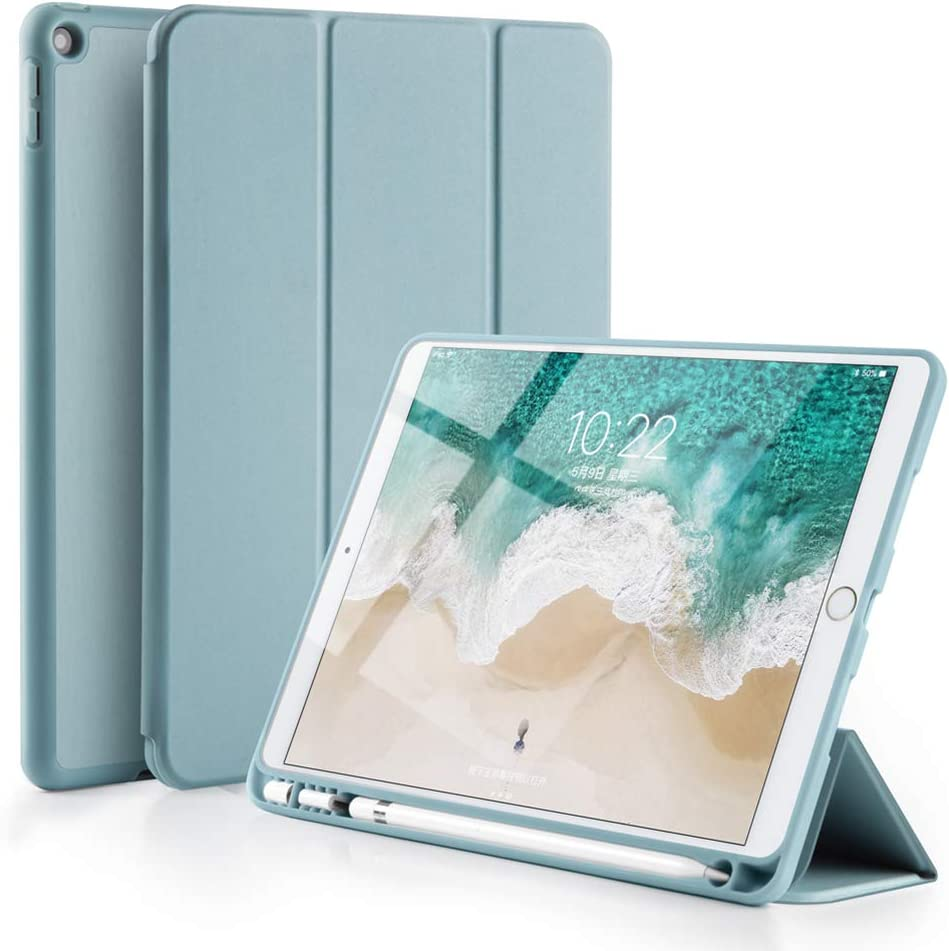GUDOU New iPad 2017/2018 Trifold Smart Case with Pencil Holder,Premium PU Leather+Soft Silicone Back Shell Stand Cover with Auto Sleep/Wake,Protective for Apple iPad 5th/6th Gen 9.7inch (Light Blue)