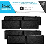 GermGuardian C Part # FLT5250PT for 5000 Model Series, Comparable 3-in-1 Air Cleaning System HEPA and Carbon Pre Filter. A Home Revolution Brand Quality Aftermarket Replacement 4PK