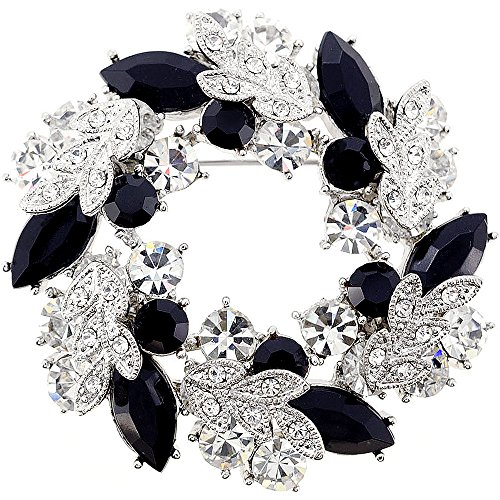 - Jet Chrome Wreath Pin Brooch And Pendant