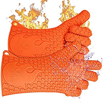 Ekogrips BBQ Oven Gloves | Best Versatile Heat Resistant Grill Gloves | Lifetime Replacement | Insulated Silicone Oven Mitts For Grilling | Waterproof | Full Finger, Hand, Wrist Protection | 3 Sizes