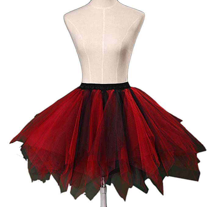 Vimans Womens Short Lovely Petticoats Tutu Underskirts Slips Black and Red at Amazon Womens Clothing store: