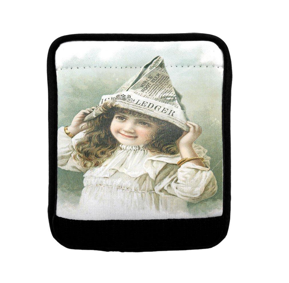 Girl In Paper Hat Old Vintage Poster Luggage Handle Wrap Finder