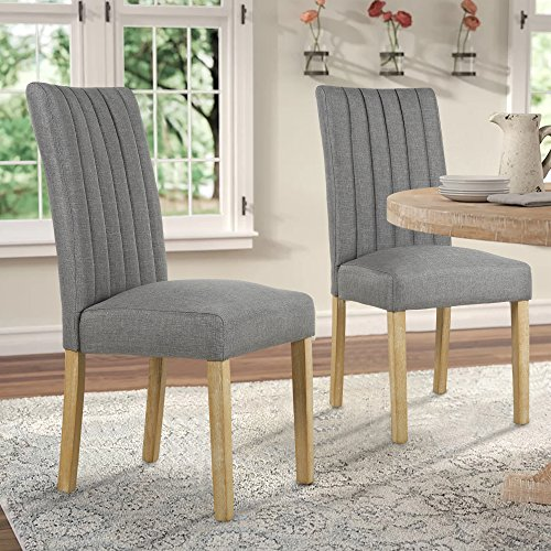 LSSBOUGHT Upholstered Fabric Parsons Dining Chairs, Set of 2, Gray ()