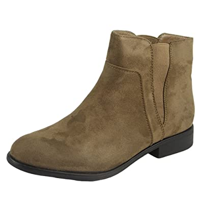 6dc5acf733ed Womens Ladies Suede Chelsea Booties Low Cuban Heel Ankle Casual Boots Shoes  Size 3
