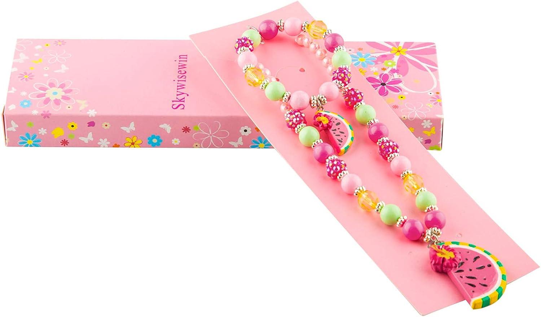 SkyWiseWin Chunky Bubblegum Bijoux Collier et Bracelet Ensemble pour Petites Filles Fruit Past/èque Pendentif Bijoux pour Enfants