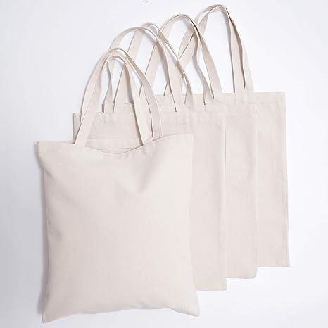 Amazon.com: Bolsas de lona natural – 4 bolsas de la compra ...