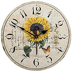 Home Decor Clock, Colorful Retro Arabic Numerals Style,Silent Non -Ticking Quartz Wooden Wall Clock, Large Wall Art Decorative for Kitchen,Living Room,Kids Room and Coffee Decor (14 Inch, Sunflower)