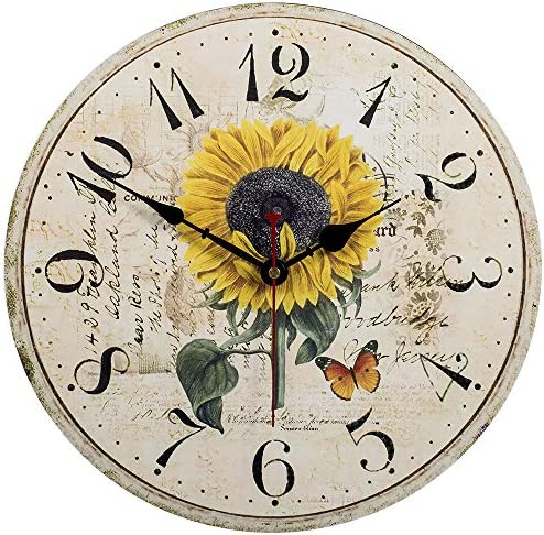 Kitchen Wall Clock – Home Decorative,14 Inch Sunflower Silent Non-Ticking Quartz Battery Operated Clock,Large Easy To Read Vintage Wooden Style for Living Room,Bedroom,Kids Room and Coffee Bar