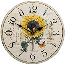 14 inch Sunflower Decorative Wooden Wall Clocks Home Flower Decor Clock by SkyNature