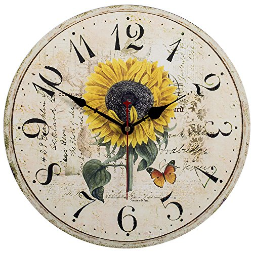 Kitchen Wall Clock - Home Decorative,14 Inch Silent Non-Ticking Quartz Battery Operated Clock,Easy To Read Vintage Wooden Large Sunflower Style for Living Room,Bedroom,Kids Room and Coffee Bar