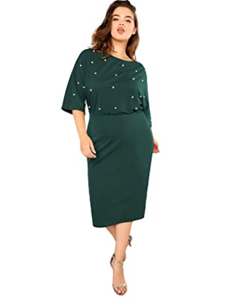 be80f2ff7932 Amazon.com: SheIn Women's Plus Size 3/4 Sleeve Pearl Beaded Pencil Dress:  Clothing