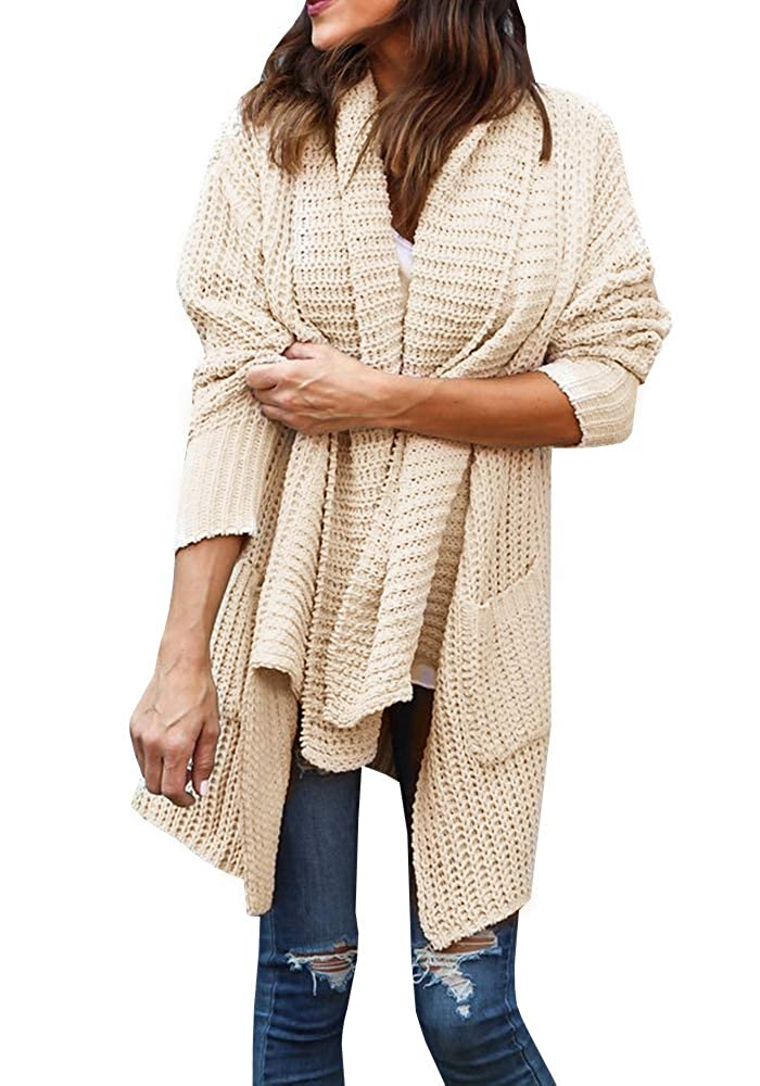 Beige Ofenbuy Womens Overzied Cardigan Sweaters Open Front Long Sleeve Chunky Knit Cardigans Outwears