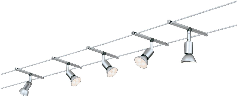 Paulmann 941.24corda System Spice saltled Set Bianco Caldo 5X 4W LED Cromo 94124corda lampada a sospensione [Classe di efficienza energetica A+]