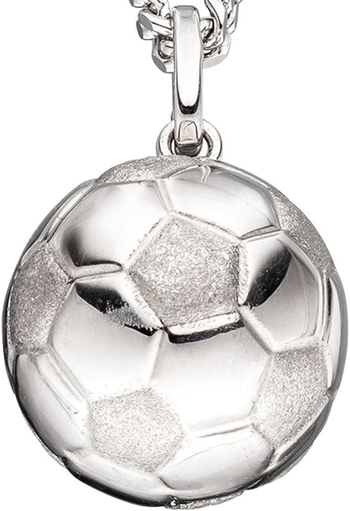Balón de fútbol colgante plata{925} parcialmente mate brillante de ...
