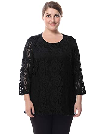 f2968fd7cc548 Chicwe Women s Plus Size Lined Lace Top Blouse - Round Neck 3 4 Sleeves Work
