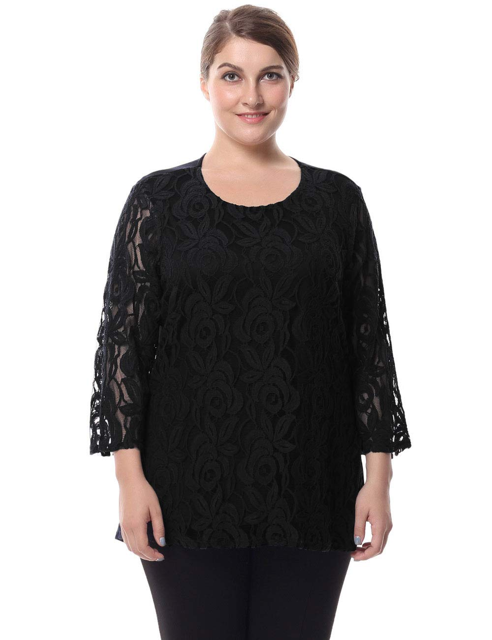 Chicwe Women's Plus Size Lined Lace Top Blouse - Round Neck 3/4 Sleeves Work and Casual Top Black 3XL