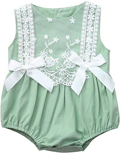 WOCACHI Toddler Baby Girls Clothes Infant Baby Girl Kid Newborn Lace Bow Floral Romper Bodysuit Sunsuit Outfits