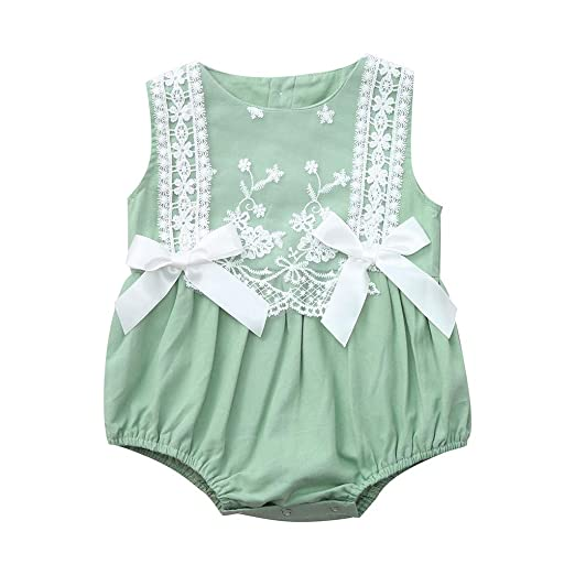 f6a07468c37 Hatoys Infant Baby Girl Kid Newborn Lace Bow Floral Romper Bodysuit Sunsuit  Outfits (Green