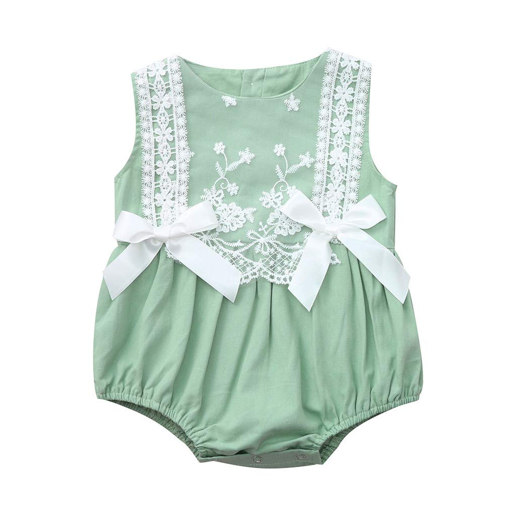 NUWFOR Infant Baby Girl Kid Newborn Lace Bow Floral Romper Bodysuit Sunsuit Outfits (Green,12-18Months)