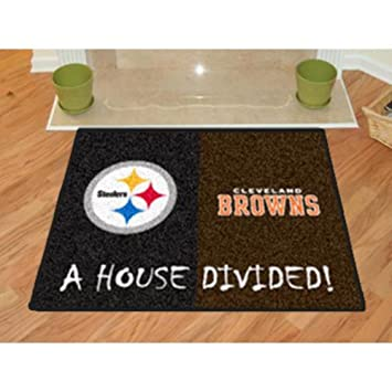 NFL   Pittsburgh Steelers   Cleveland Browns All Star House Divided Rug