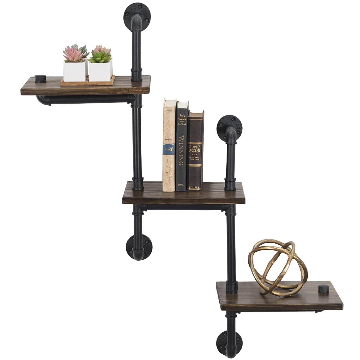 """3-Tier Wooden Wall Ladder Floating Rustic Shelf 35""""x40"""" With Iron Black Pipe Hardware For Bedroom, Kitchen, Office"""