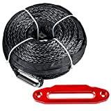 Grey Synthetic Winch Rope Line Cable Kit 95'x3/8'' 20500 LBS + 10'' Red Hawse Fairlead for 4x4 Off-road ATV Truck Jeep
