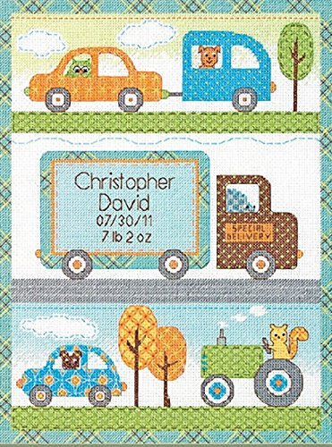 Dimensions Needlecrafts Counted Cross Stitch, Happi Transport Birth Record Birth Record