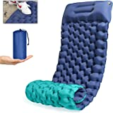Camping Sleeping Pad, GDPETS Foot Pump Extra-Thick& Widen Camping Air Mat Backpacking Sleeping Pad for Outdoors (Double Color